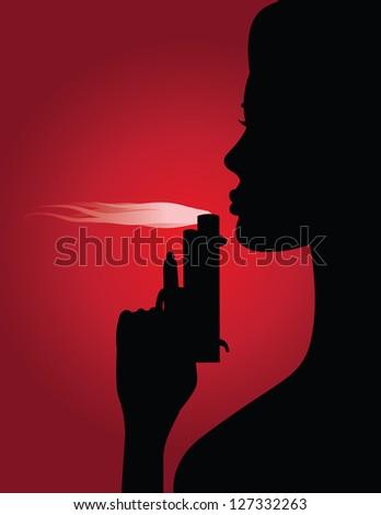 Woman Blowing Smoke from Gun JPG - stock photo