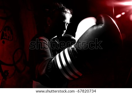 Woman boxer - stock photo
