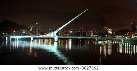 Woman bridge (Puente de la Mujer) in Buenos Aires at night - stock photo