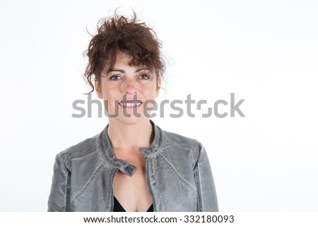 Woman, brunette with curly hair isolated - stock photo