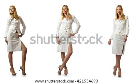Woman businesswoman isolated on white - stock photo