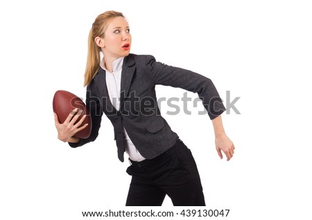 Woman businesswoman with american football - stock photo