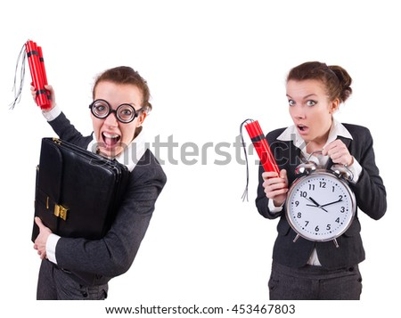 Woman businesswoman with dynamite stick isolated on white - stock photo