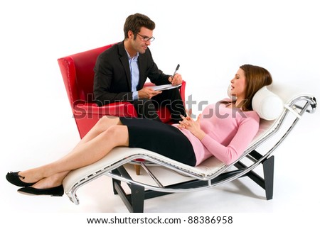 woman by the psychologist - stock photo