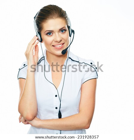 Woman call center operator. White background isolated. - stock photo