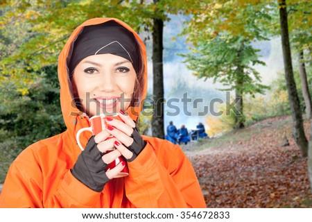 woman camping - stock photo