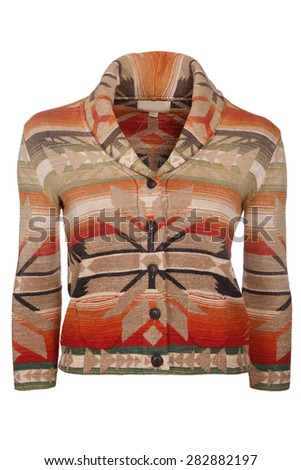 woman cardigan with native american ornament  - stock photo