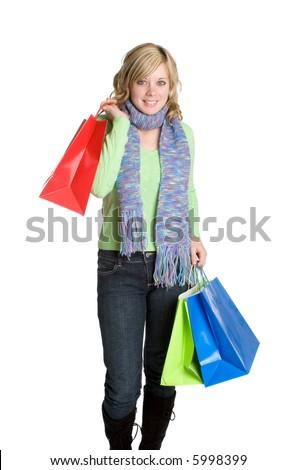 Woman Carrying Shopping Bags - stock photo