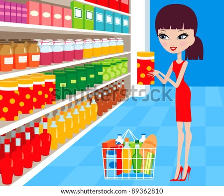 Woman cartoon in a supermarket.  Raster illustration - stock photo