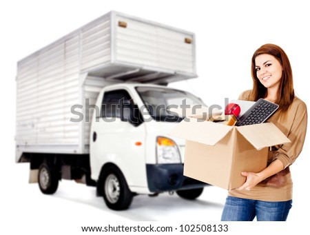 Woman changing house and hiring a moving service - isolated - stock photo