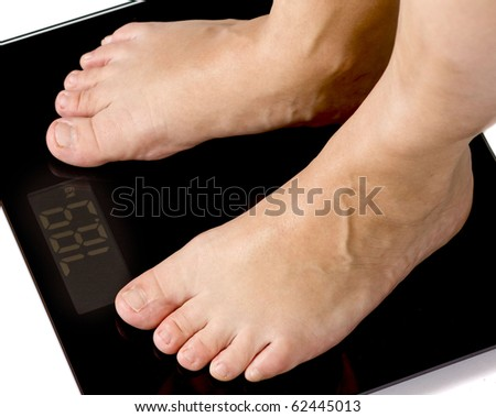 woman checking weight - stock photo