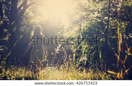 Woman Cheerful Happiness Freedom Carefree Nature Park Concept - stock photo