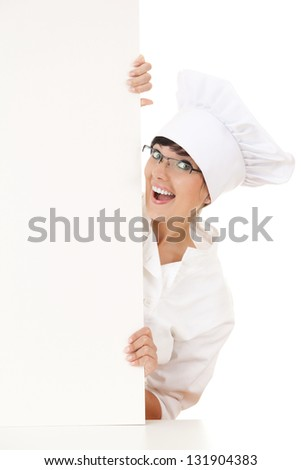 woman chef smiling happy holding blank white paper sign, white background - stock photo