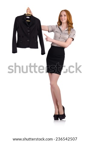 Woman choosing the dress isolated on white - stock photo