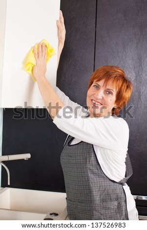 Woman cleaning the kitchen. Adult woman washing cupboard  - stock photo