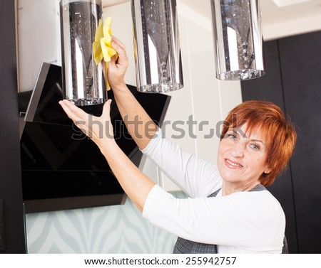 Woman cleaning the kitchen. Adult woman washing lamp - stock photo