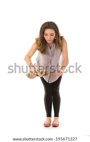 woman cleaning with a cloth on a white background - stock photo