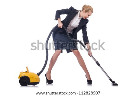 Woman cleaning with vacuum cleaner - stock photo