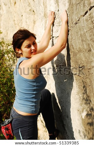 woman climbing - stock photo