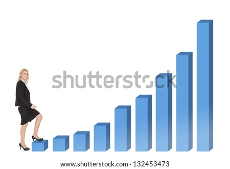 Woman climbing career ladder. Isolated on white - stock photo