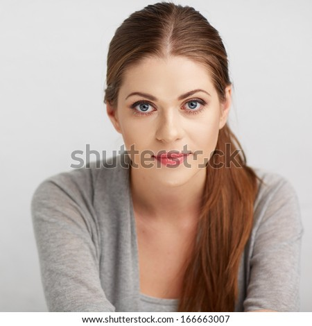Woman close up face portrait. Isolated . - stock photo