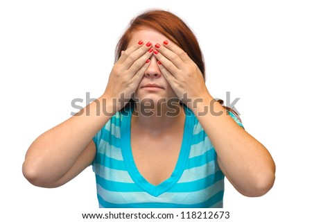 Woman closed eyes isolated on white background - stock photo