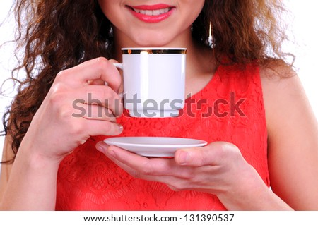 woman coffee cup isolated on white - stock photo