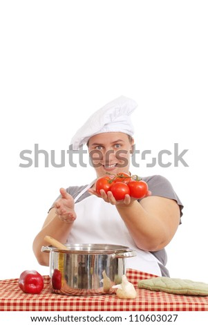 Woman cooking a delicious meal - stock photo