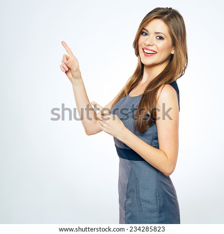 woman copy space pointing finger. smiling business woman portrait. - stock photo