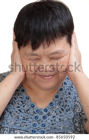 Woman covering her ears - Hear no evil - stock photo