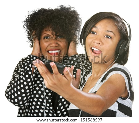 Woman covering her ears while young person sings - stock photo