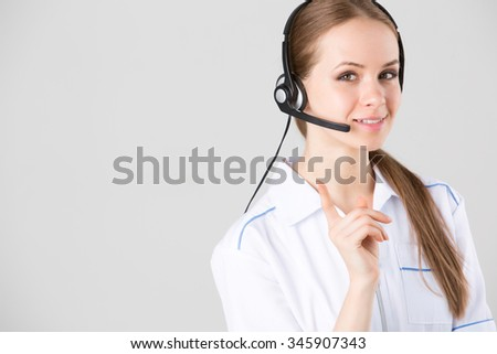 Woman customer medical service worker, call center smiling operator with phone headset. - stock photo