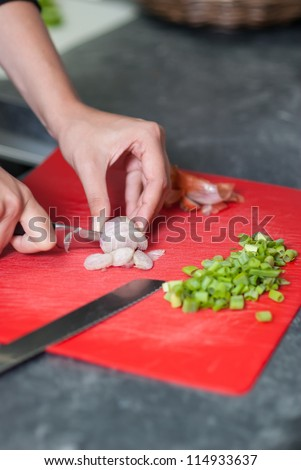 Woman cuts onion on a kitchen bench in the kitchen - stock photo