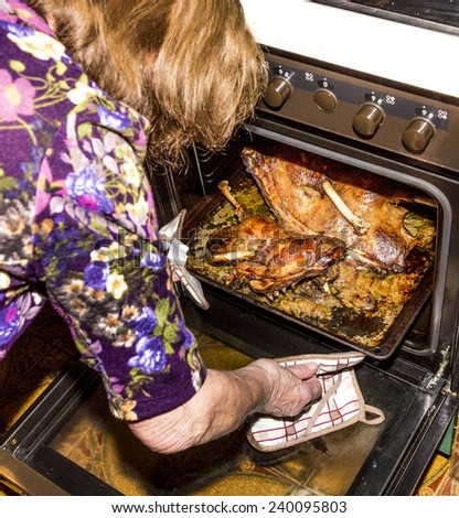 woman cuts roasted goose with a knife - stock photo