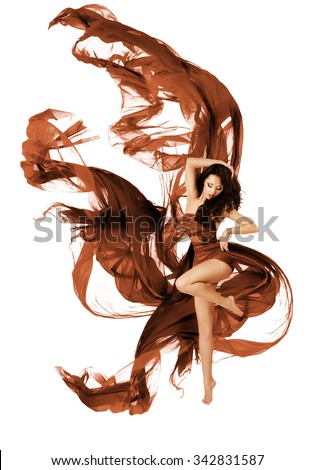 Woman Dancing Fabric Flying Cloth, Fashion Dancer with Waving Dress Fabric on White background - stock photo