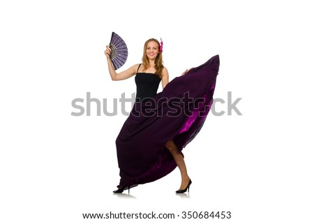 Woman dancing with fan isolated on white - stock photo