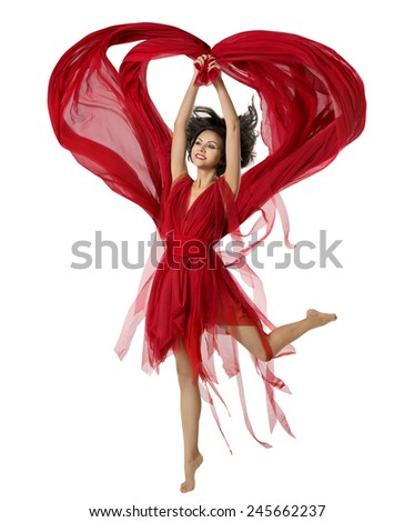 Woman Dancing With Heart Shaped Fabric Cloth, Beautiful Girl in Red Dress Waving On Wind. Isolated Over White Background - stock photo