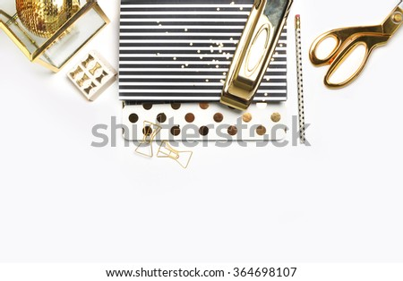 Woman Desktop. Header website or Hero website, Mockup product view table gold accessories. stationery supplies. glamour style. Gold stapler. . - stock photo