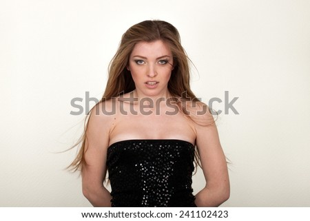 woman different facial expressions   - stock photo