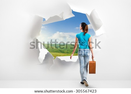 Woman discovering a beautiful landscape  - stock photo