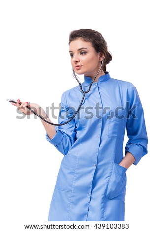Woman doctor isolated on the white - stock photo