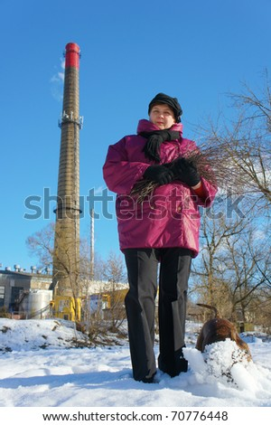 Woman, dog and  factory pipe of smoking against the sky - stock photo