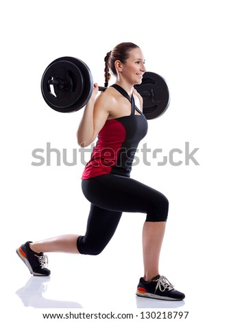 Woman doing exercise with a weight isolated over white background - stock photo