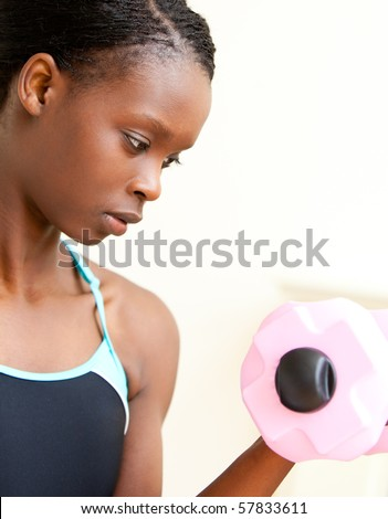 Woman doing fitness against a white background - stock photo