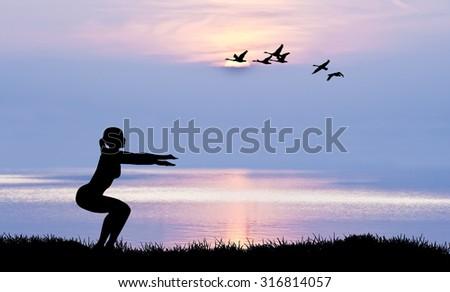 Woman doing gymnastics - stock photo