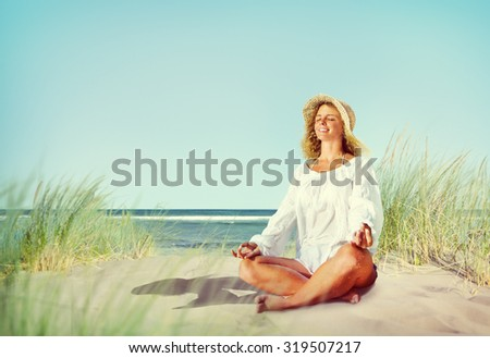 Woman doing Meditation with Nature Peaceful Concept - stock photo