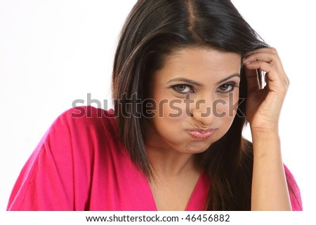 Woman doing oil pulling - stock photo