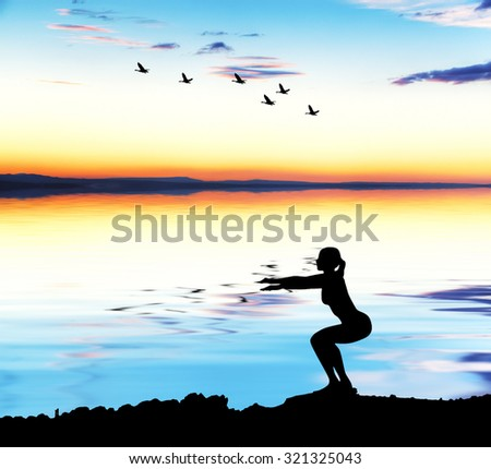 woman doing sports in nature - stock photo