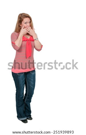 Woman doing the tradition speak no evil gesture - stock photo