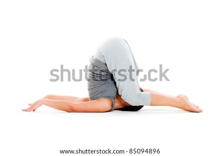 woman doing yoga workouts on floor. isolated on white background - stock photo